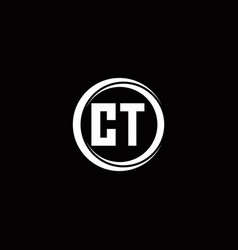 Ct logo initial letter monogram with circle slice vector