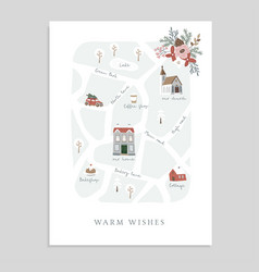 Cute christmas greeting card invitation with map vector