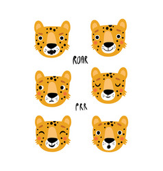 cute leopard character set vector image