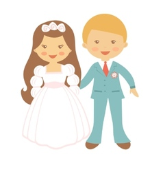 Cute wedding couple vector image vector image