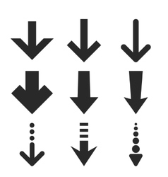Down Arrows Flat Icon Set vector image