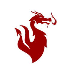 dragon flame logo design mascot template isolated vector image
