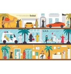 Dubai UAE flat office interior outdoor concept web vector
