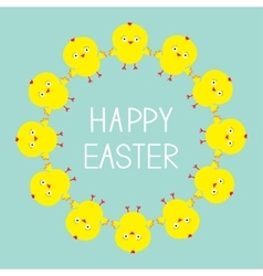 Easter chiken round frame Baby background Flat vector image