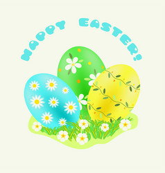 Easter green turquoise yellow painted eggs in vector