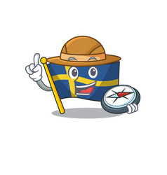 Explorer flag sweden with mascot shape vector
