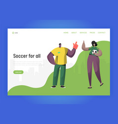 football brazil fan character couple landing page vector image