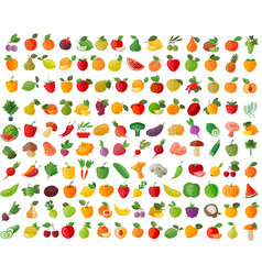Fruit and vegetables color icons set vector
