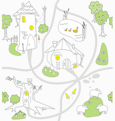 Funny houses and paths clearings lamb chicken vector