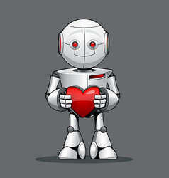 Funny kid robot with a heart in his hand vector