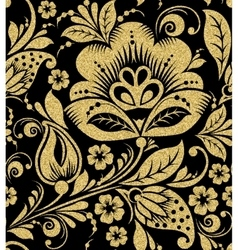 Gold glittering Khokhloma seamless pattern vector