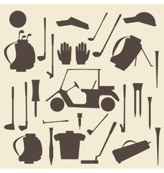 Golf sport items silhouette icon set Driver vector image
