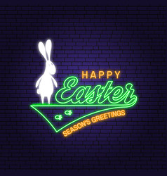 happy easter neon card badge logo sign vector image