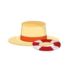 Hat and life preserver icon vector