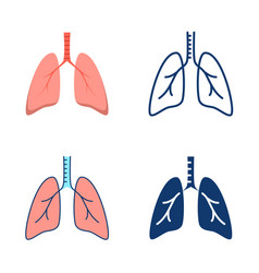 Human lungs icon set in flat and line style vector