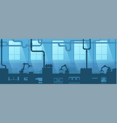 industrial interior factory plant silhouette vector image