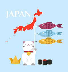Japanese lucky cat holding three fishes and japan vector