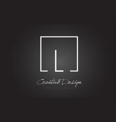 L square frame letter logo design with black and vector