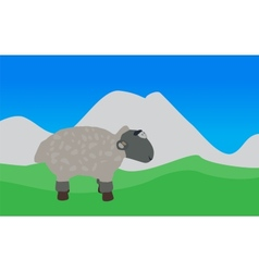 Lamb Walks Eats the Grass EPS10 vector
