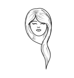 line cute woman face with hairstyle vector image