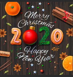 Merry christmas happy new year 2020 vintage vector