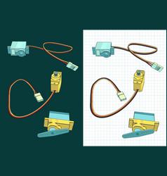 Micro servos color drawings vector
