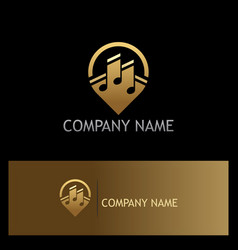 music note media gold logo vector image