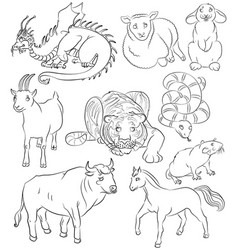 nine chinese calendar animals vector image