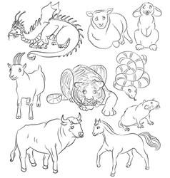 Nine chinese calendar animals vector