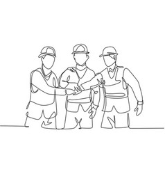 one line drawing young builder and architect vector image