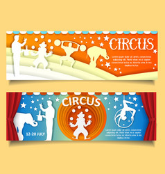 Paper cut circus banner template set vector