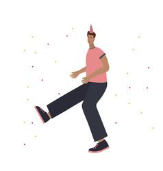 Party happy dancing man vector