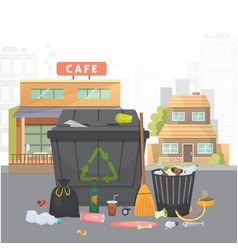 Pile of trash garbage on city background vector