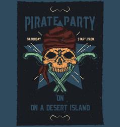 pirat skull with guns vector image