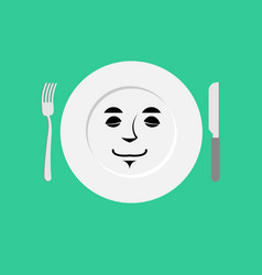 plate sleeping emoji empty dish isolated asleep vector image