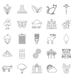 pollution of world icons set outline style vector image