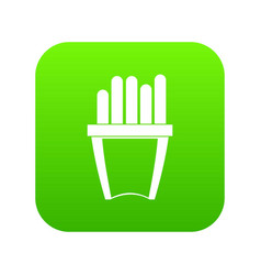 portion of french fries icon digital green vector image