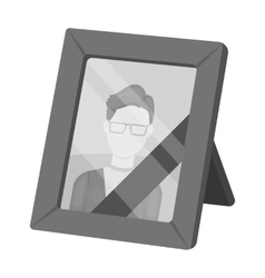 Portrait of deceased person icon in monochrome vector