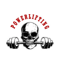 powerlifting human skull with barbell in his vector image