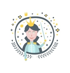 Prince Fairy Tale Character Girly Sticker In Round vector