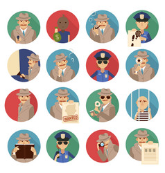 private detective icons set vector image