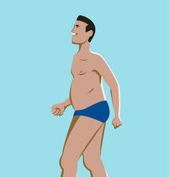 profile man in blue swimsuit smiling vector image