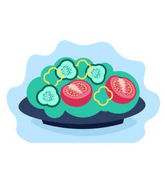 salad fresh vegetables in bowl pepper tomato vector image
