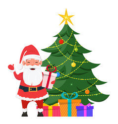 Santa standing near christmas tree with presents vector