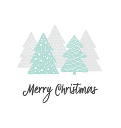 scandinavian christmas greeting card forest with vector image
