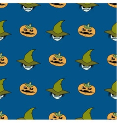 seamless pattern from pumpkins and ghosts in hat vector image
