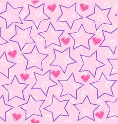 seamless star heart pattern vector image