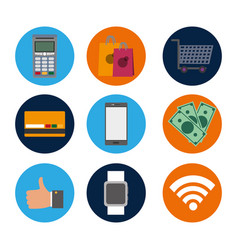 set nfc technology with dataphone transaction to vector image
