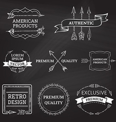 set of chalk arrows design elements on blackboard vector image