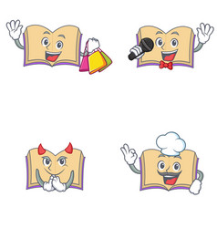 Set of open book character with shopping karaoke vector